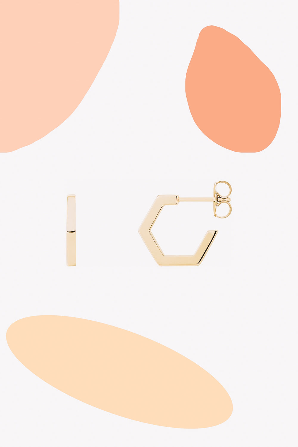 Hexagon Hoop Earrings | 14K Gold | Janna Conner
