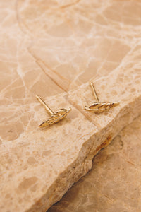 14k gold leaf earrings above view