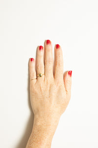 gold signet ring on model hand