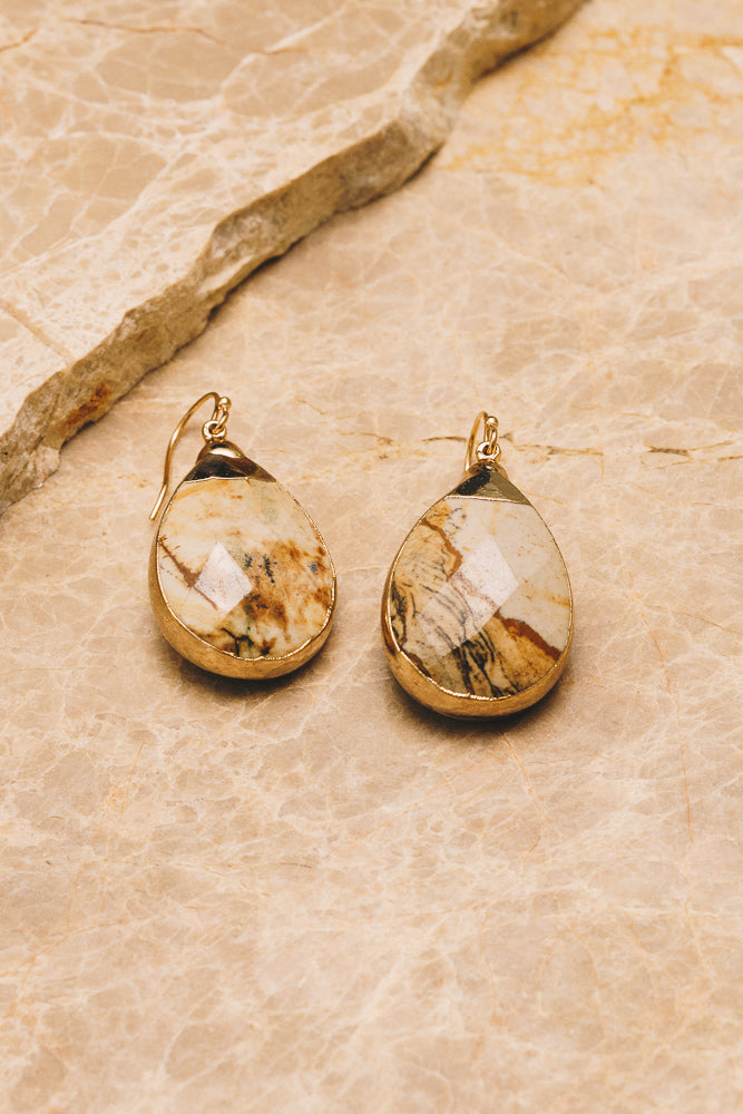picture jasper gemstone teardrop earrings