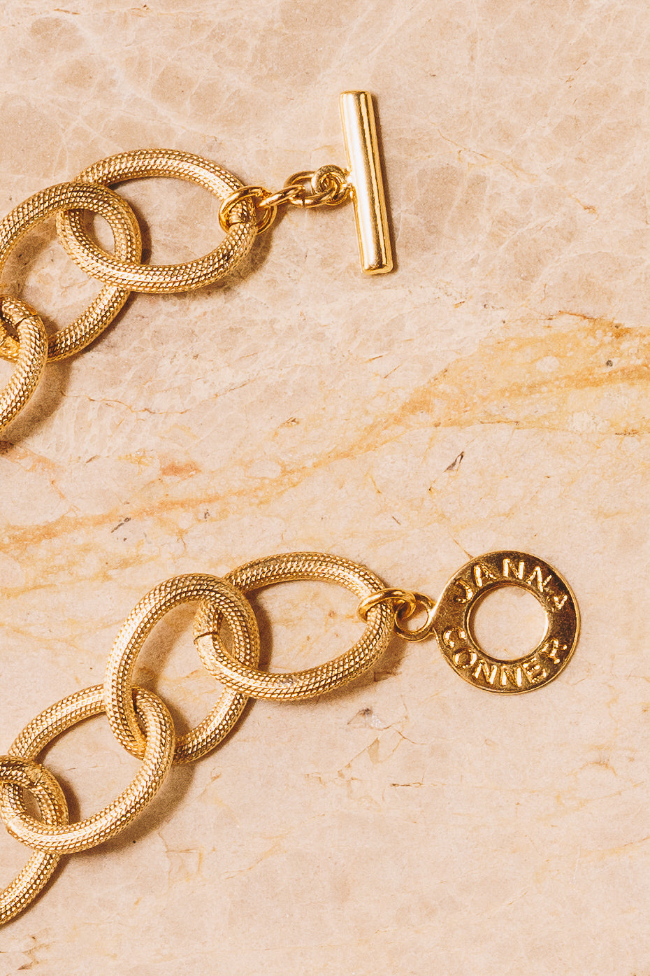 gold links with Janna Conner toggle clasp