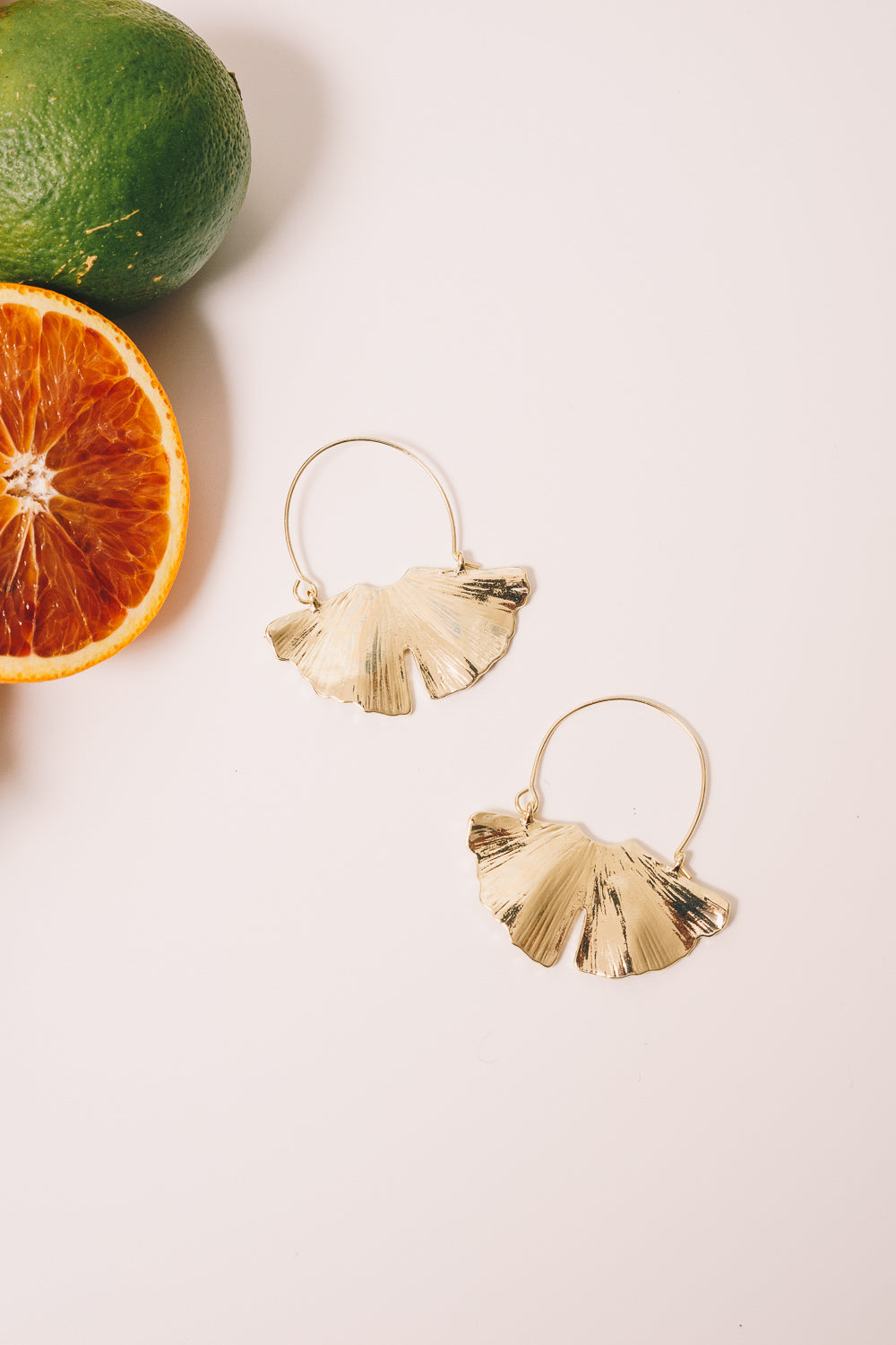 gold gingko hoop earrings