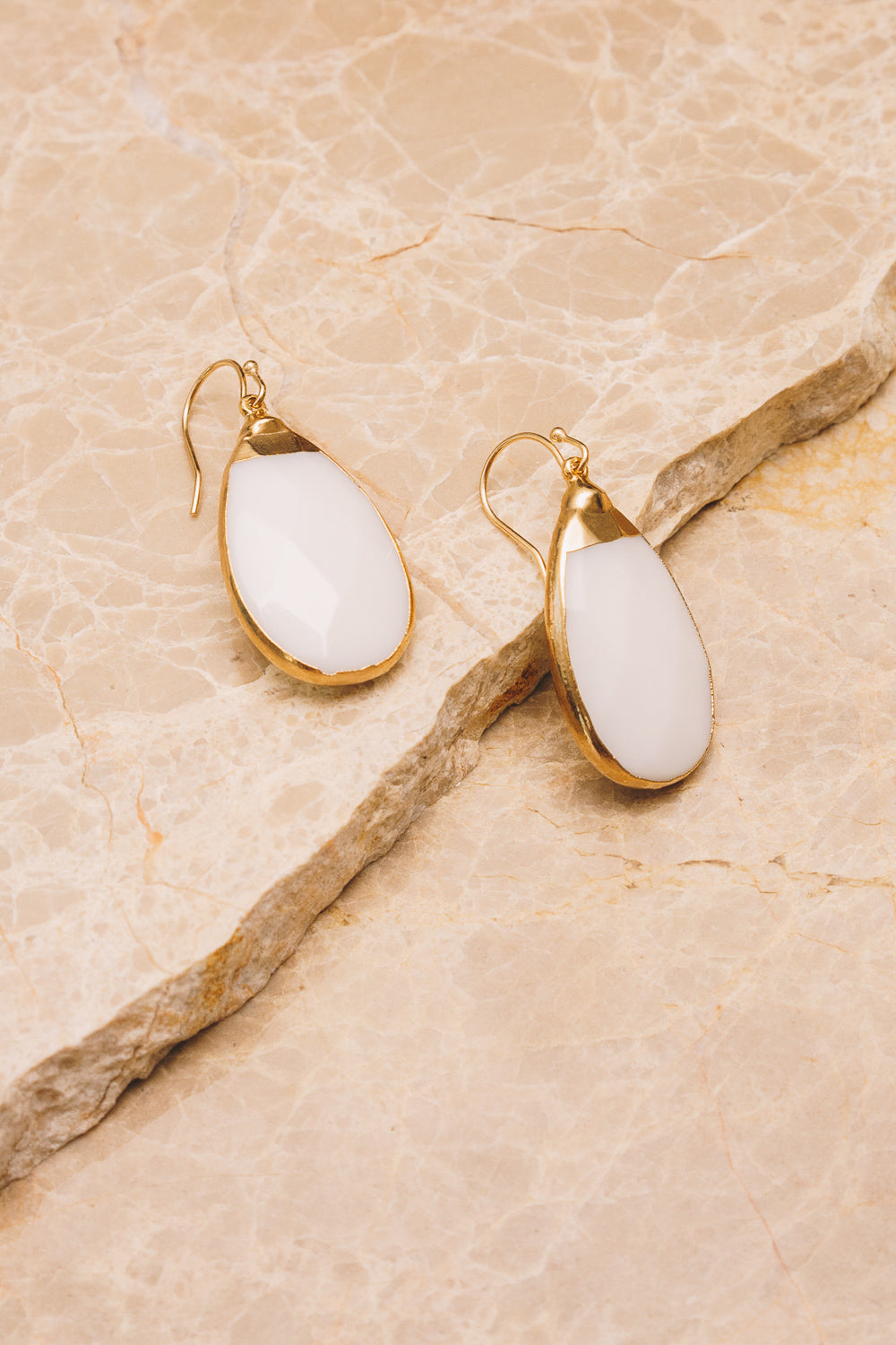 white agate teardrop earrings