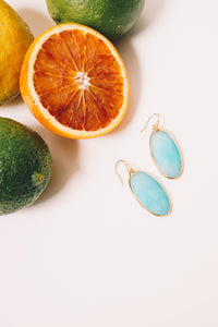 turquoise jade dangle earrings with citrus