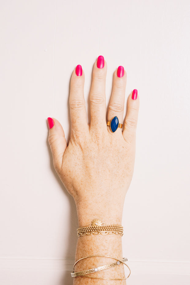 lapis marquis stacking ring on hand