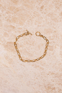 vintage link 14k goldfill chain bracelet with toggle clasp