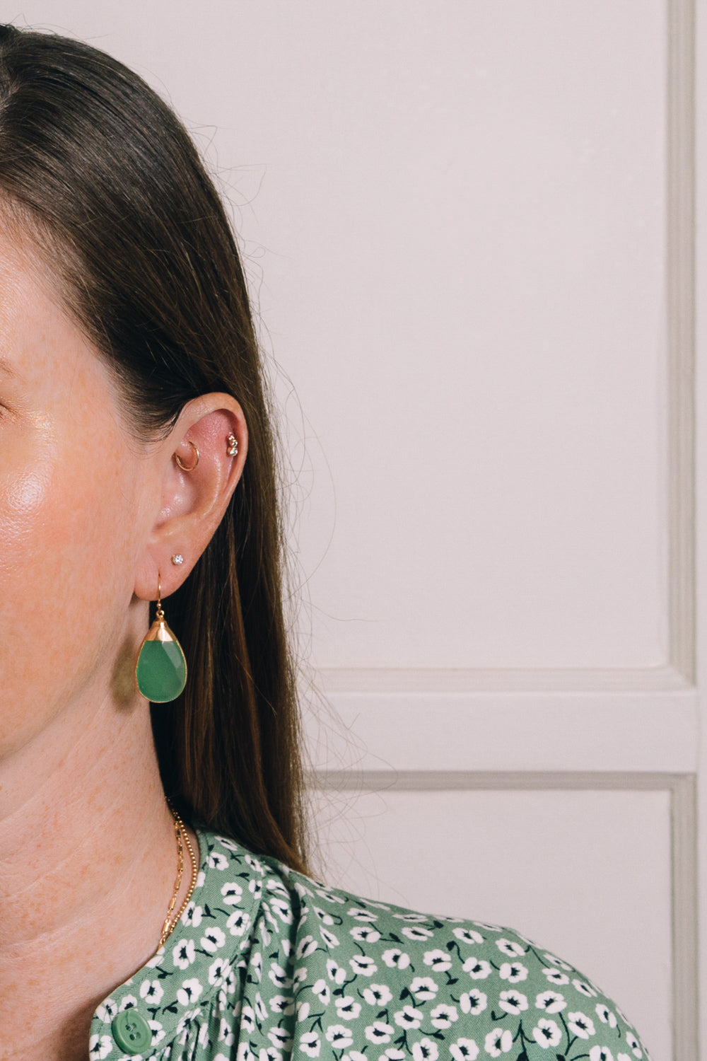 apple quartz teardrop earrings on model