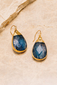 navy goldstone gemstone teardrop earrings