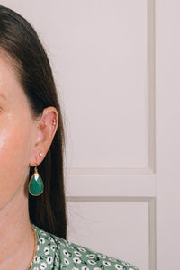aventurine teardrop earrings on model