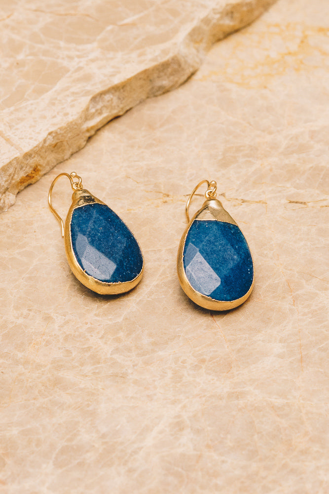 blue jade gemstone teardrop earrings