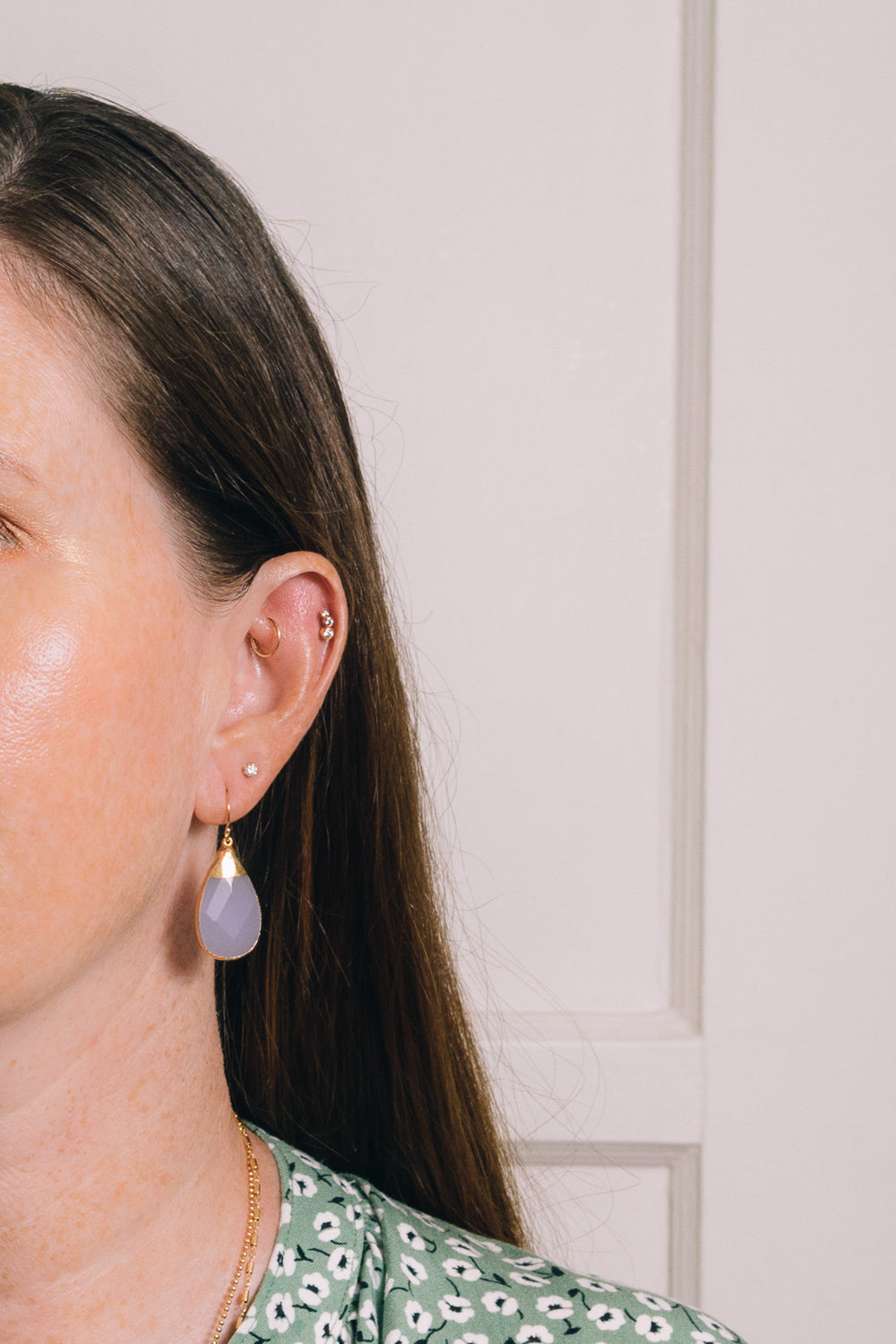 lavender quartz teardrop earrings on model