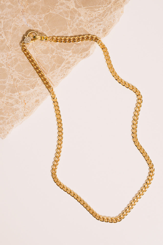 gold curb chain necklace with diamanté clasps