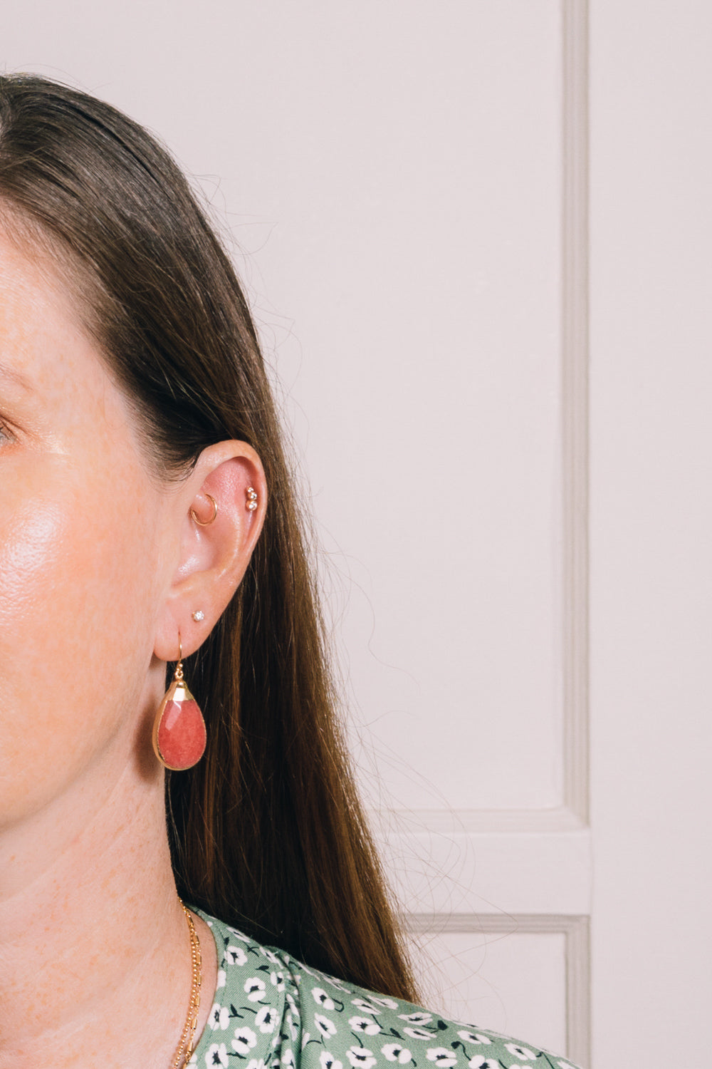 strawberry jade teardrop earrings on model