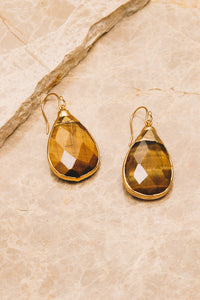tiger eye gemstone teardrop earrings
