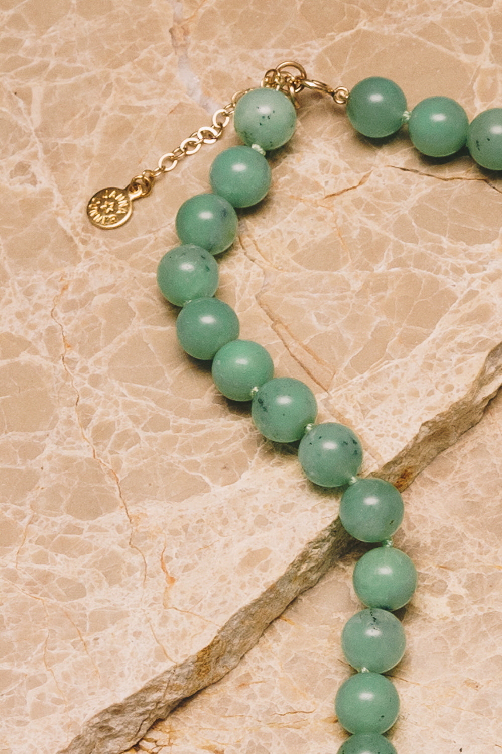 beaded chrysoprase silk strung necklace with clasp