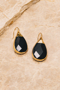onyx gemstone teardrop earrings