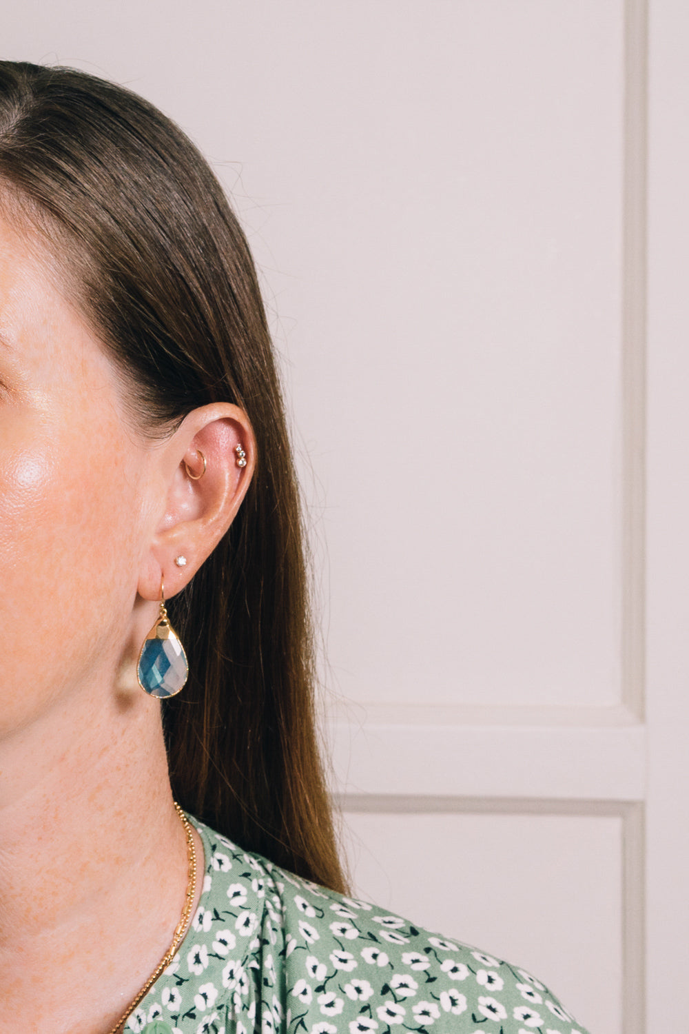 lt blue quartz teardrop earrings on model