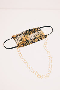 14k goldfill rope chain necklace with leopard mask