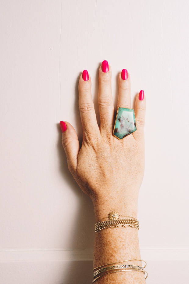 chrysoprase gemstone statement ring