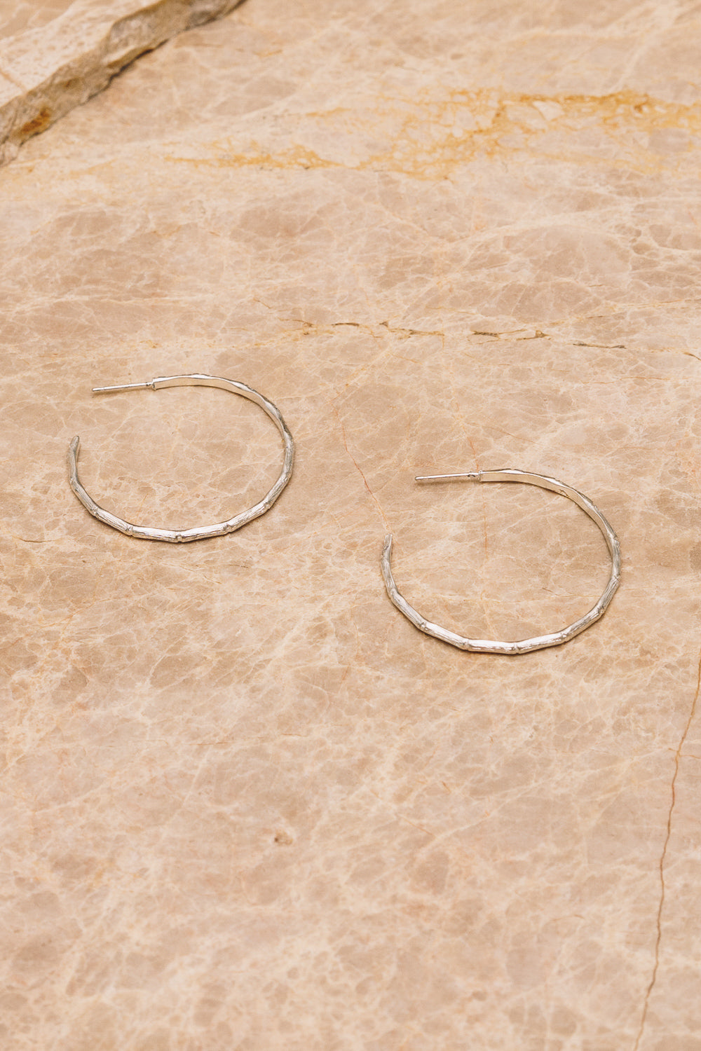 silver bamboo hoops