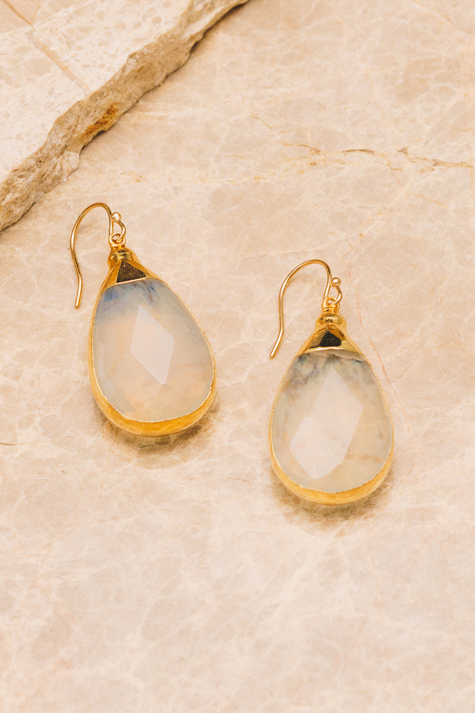 quartz gemstone teardrop earrings