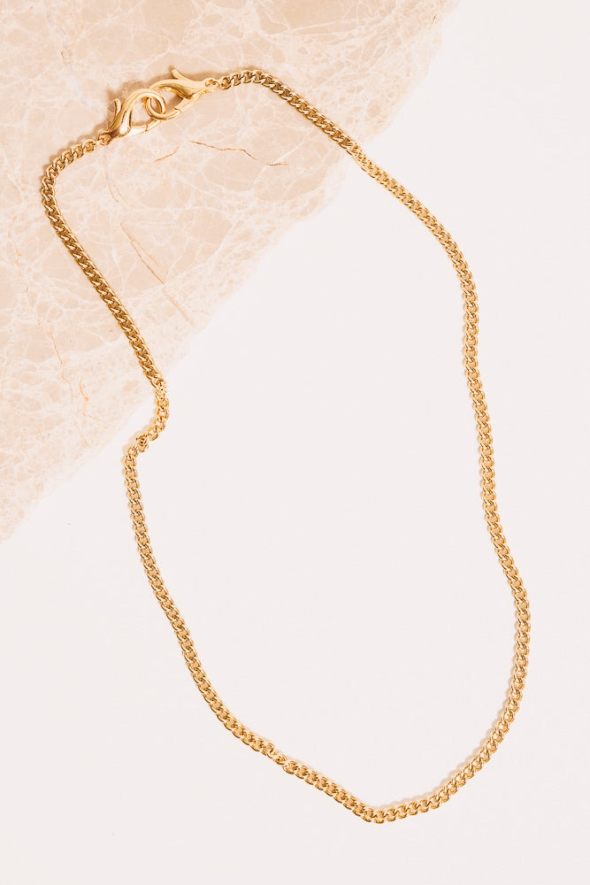 gold curb chain necklace with lobster clasps