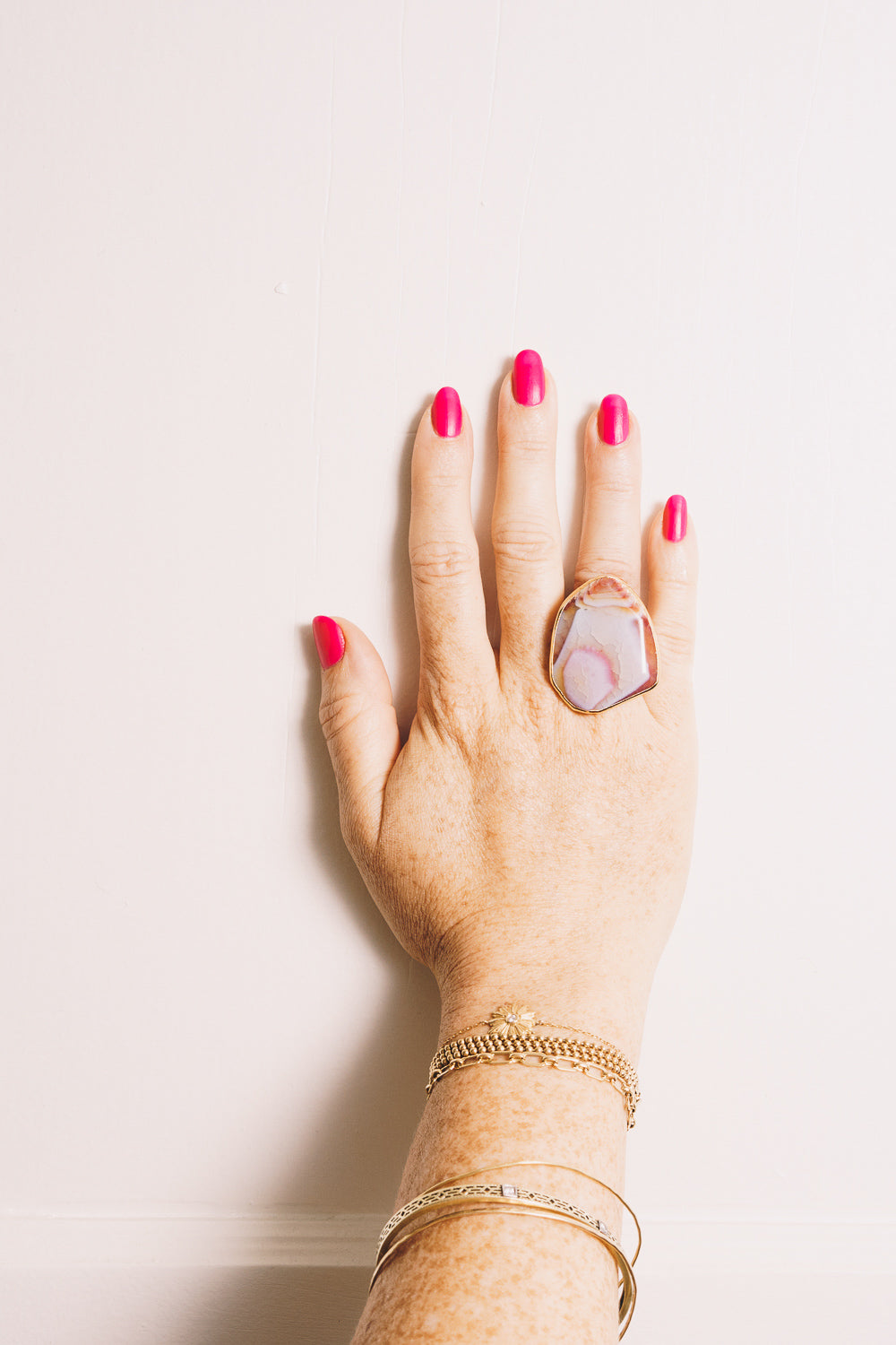 Pink Fire Agate Cocktail Ring | 18k Gold Plating | Janna Conner