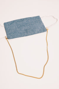 gold mask chain necklace with blue mask
