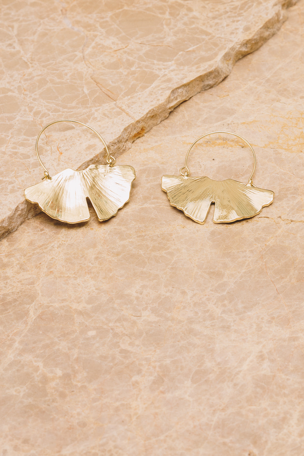 Gingko Hoop Earrings | 18k Gold Plating | Janna Conner