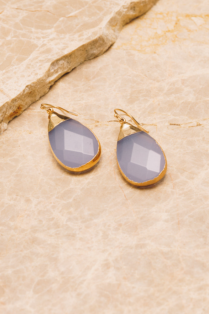 lavender quartz gemstone teardrop earrings