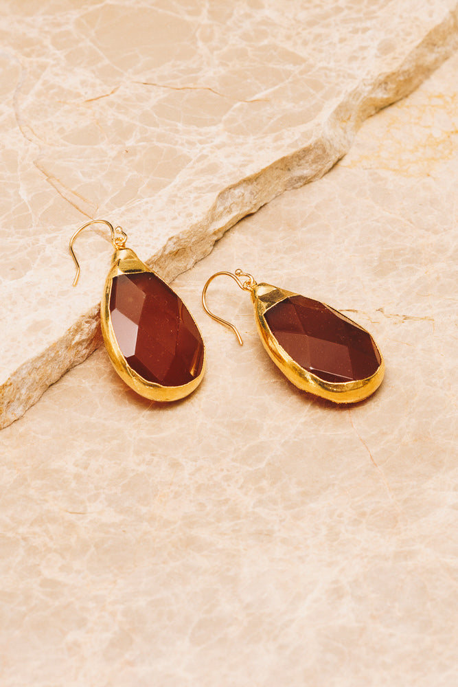 carnelian gemstone teardrop earrings