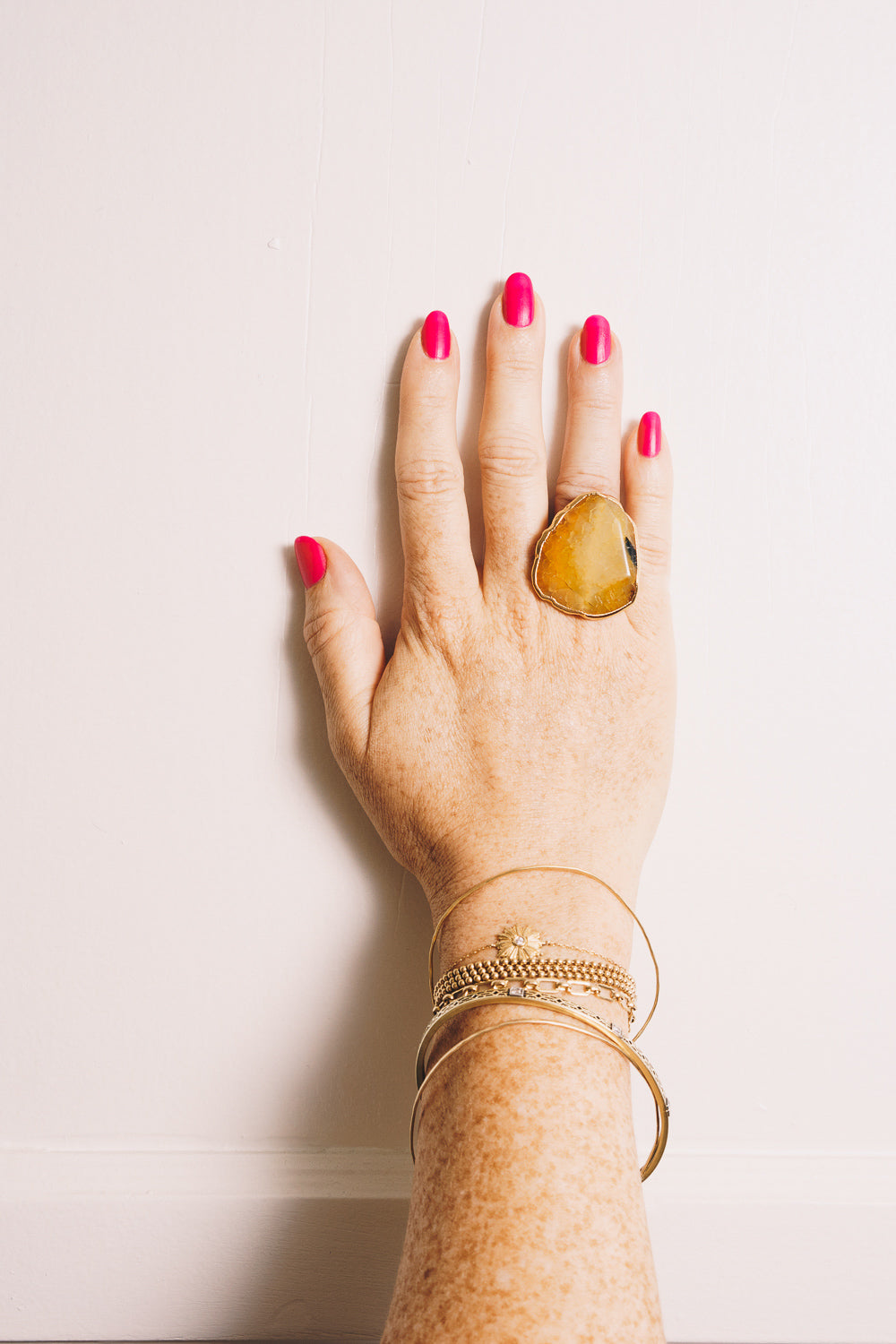 Honey Fire Agate Cocktail Ring | 18k Gold Plating | Janna Conner
