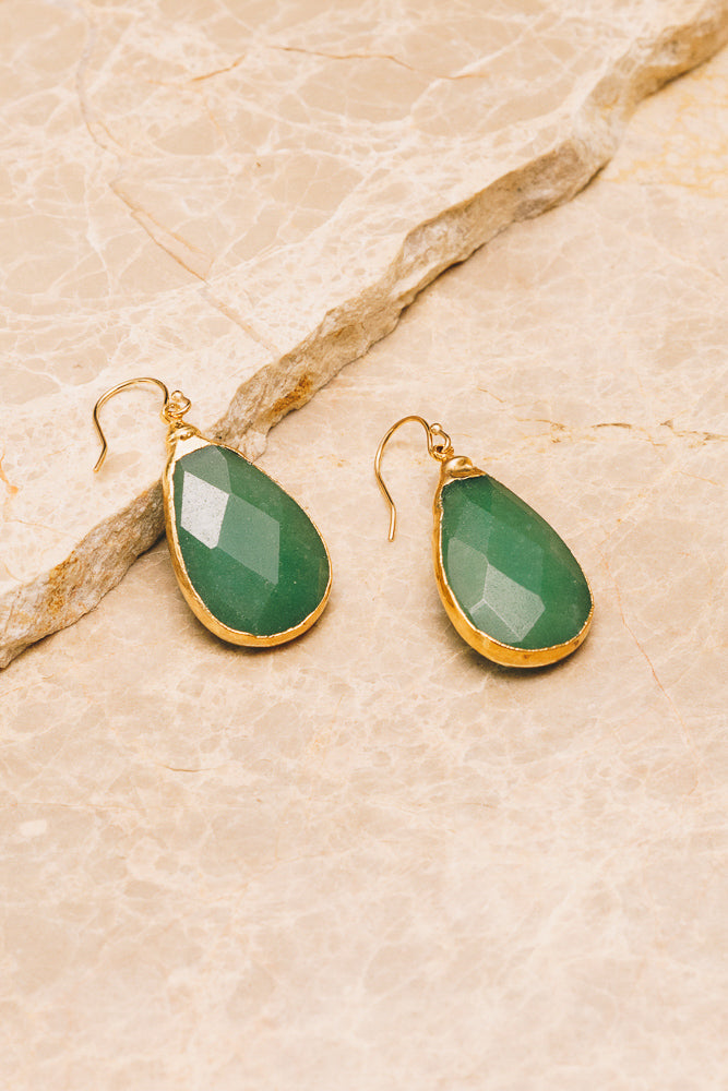 green gemstone teardrop earrings