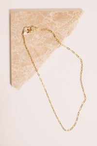 gold chain necklace above view