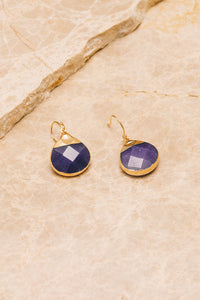 purple jade drop earrings