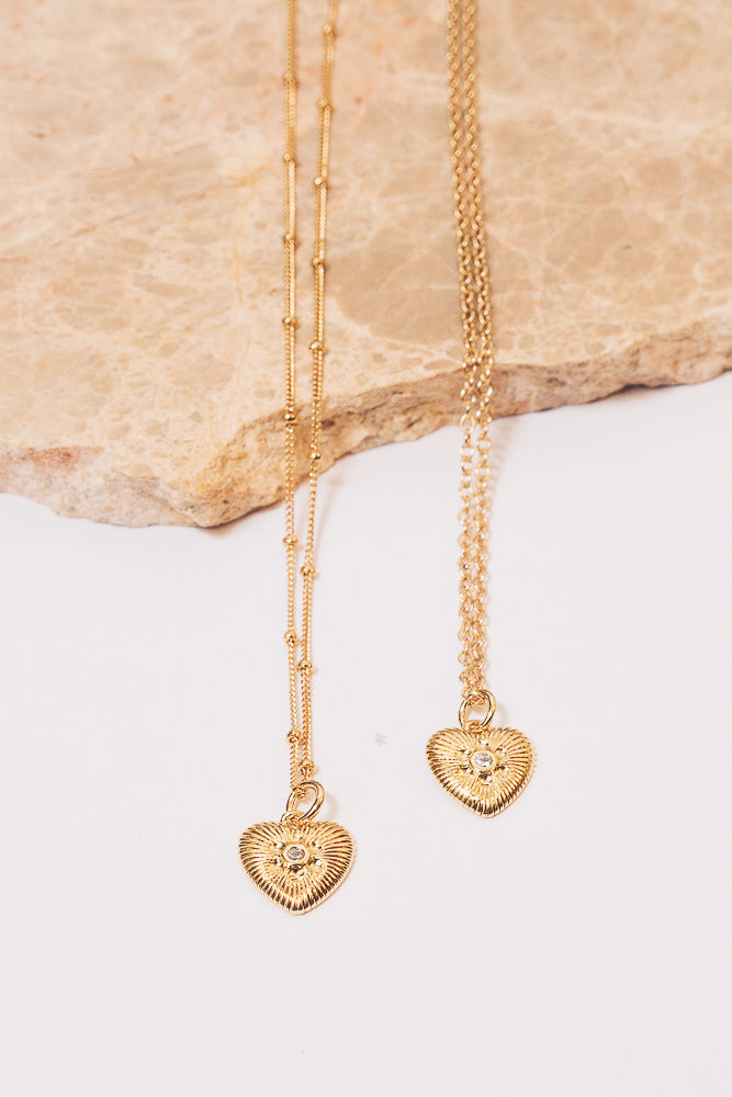 gold heart charm necklaces