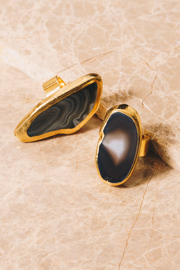 Botswana agate statement rings
