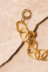 gold link chain bracelet with Janna Conner clasp