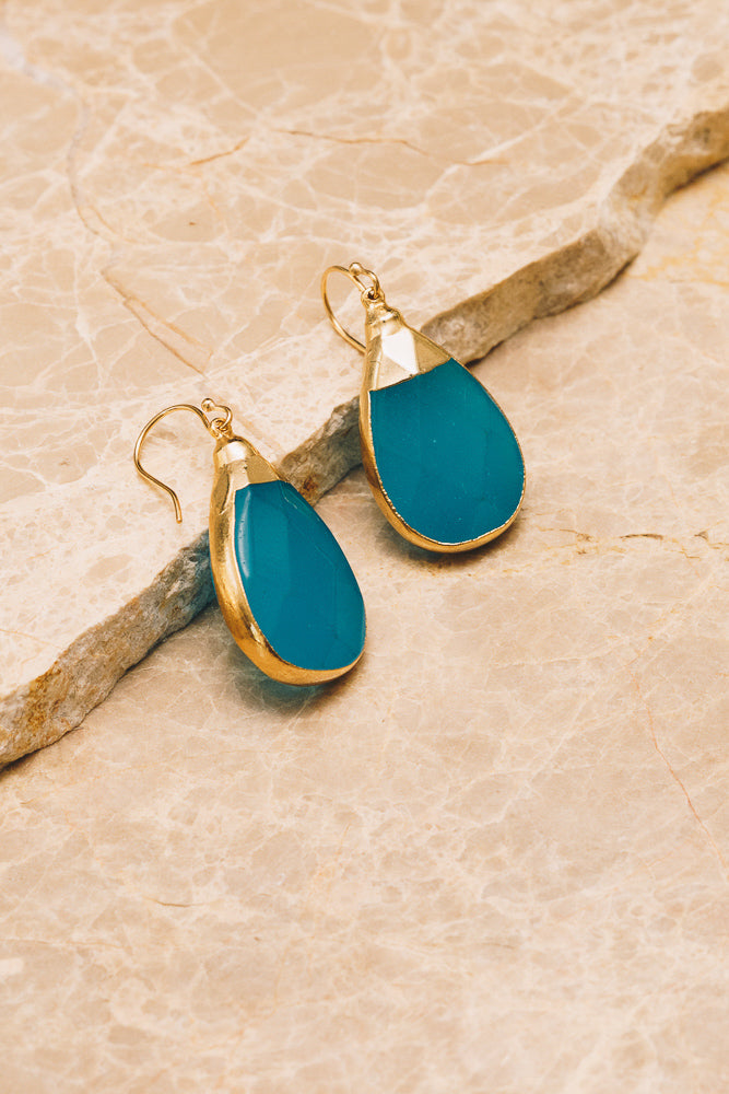 blue gemstone teardrop earrings