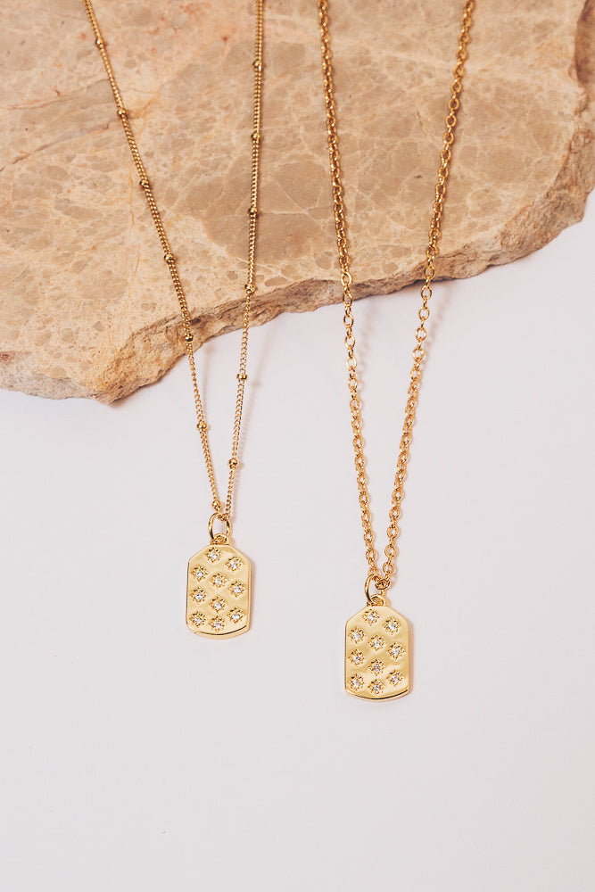 gold dog tag charm necklaces