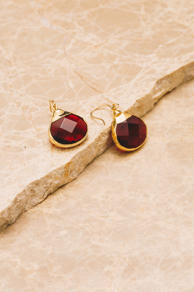 garnet quartz drop earrings