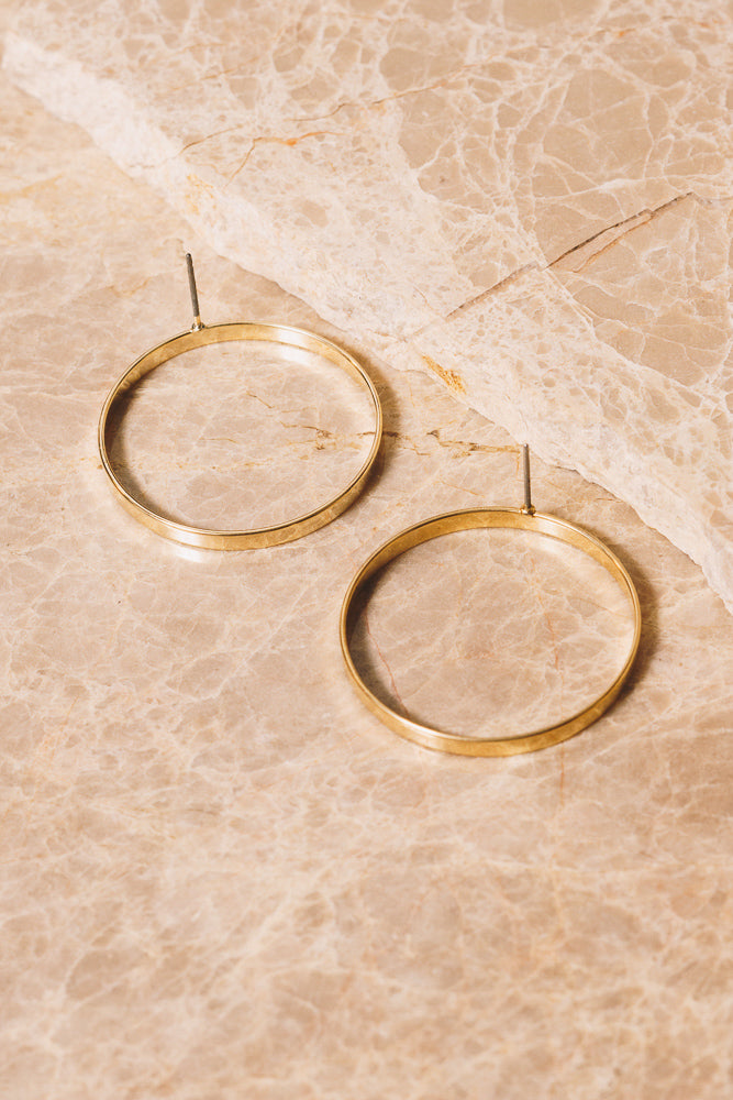 gold circle hoop earrings back