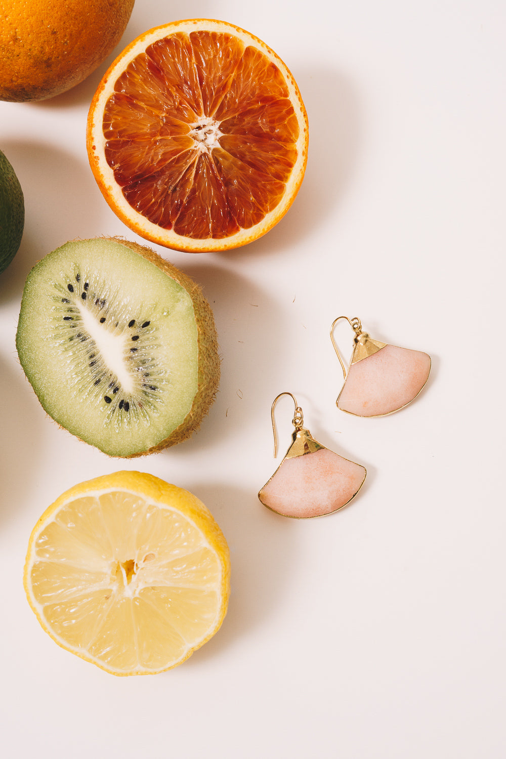 fan shaped earrings peach jade