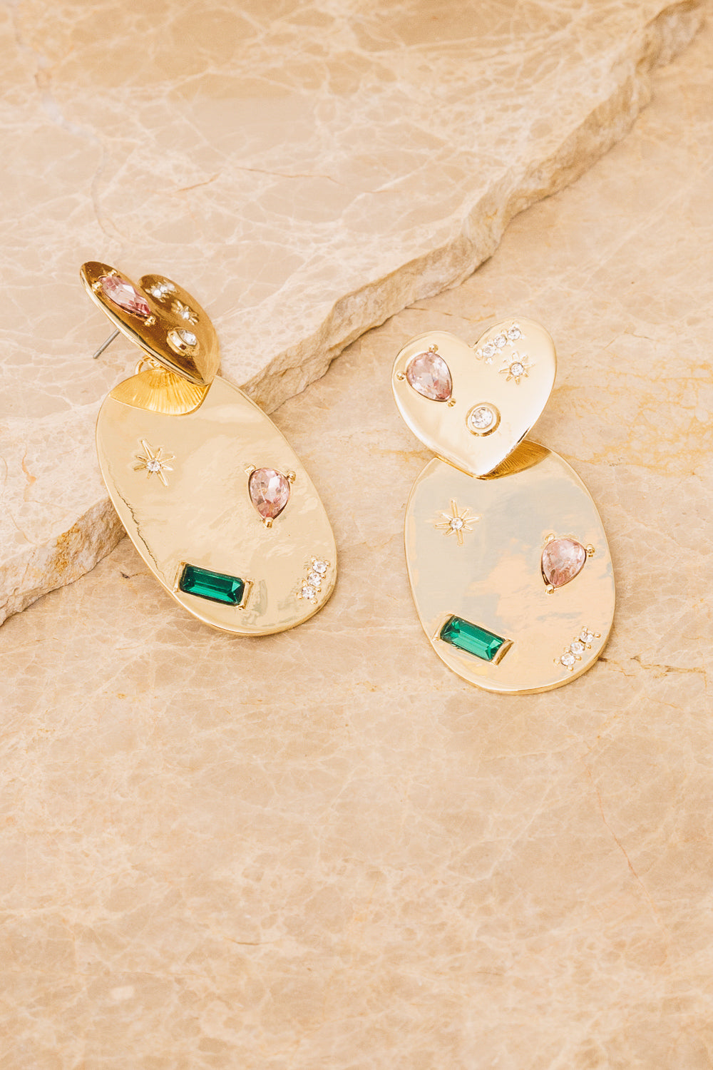 gold statement earrings with stones