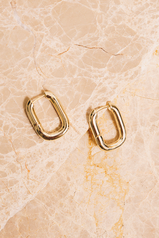 gold rectangle huggie hoops