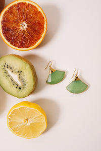 fan shaped earrings green jade