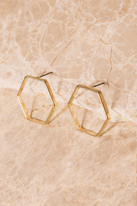 Gold Hexagon Stud Earrings | 18k Gold Plating | Janna Conner