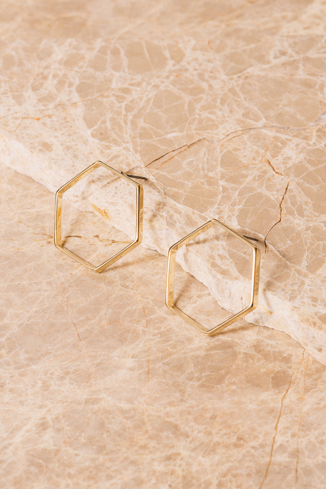 large gold hexagon stud earrings