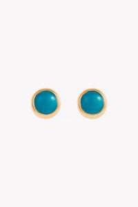 Turquoise Bezel-Set Earrings Studs | 14K Yellow | Janna Conner