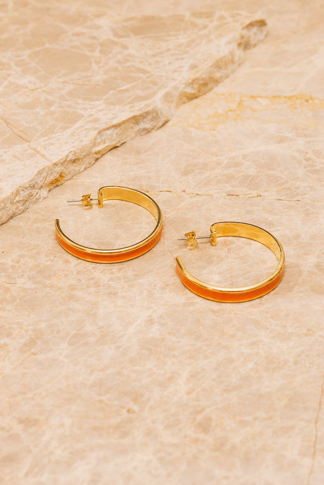orange enamel hoop earrings